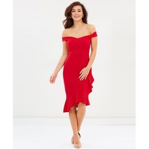 Red Ruffle Bardot Bodycon Dress